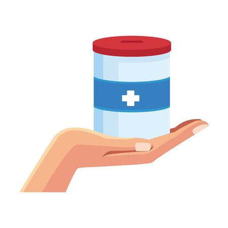 hand holding a donation tin over white background, colorful design, vector illustration