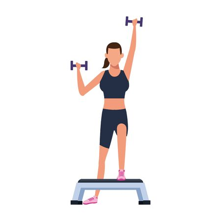 avatar woman exercising and lifting dumbbells icon over white background, vector illustration Stock Illustratie