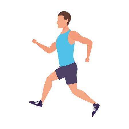 avatar fitness man running icon over white background, vector illustration Stock Illustratie