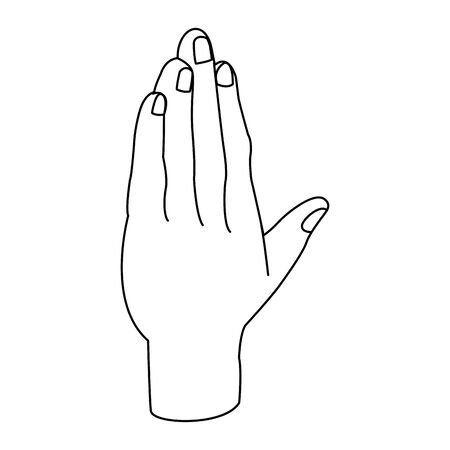 opened hand icon over white background, flat design, vector illustration