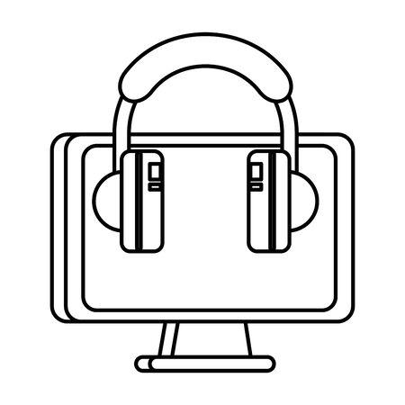 desktop computer display with earphones vector illustration design
