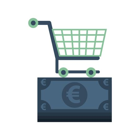 euro bills money with shopping cart vector illustration design