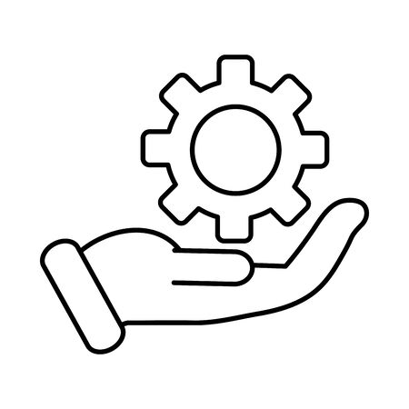 business hand lifting gear machine vector illustration design