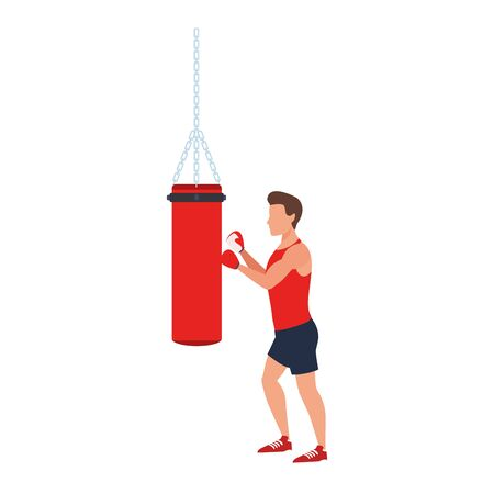 avatar Man training on a punching bag icon over white background, vector illustration