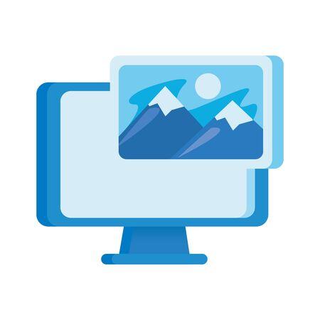 desktop computer display with picture file vector illustration design