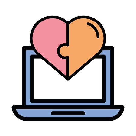 happy valentines day laptop with heart vector illustration design