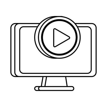 desktop computer display with media player interface vector illustration design Illustration