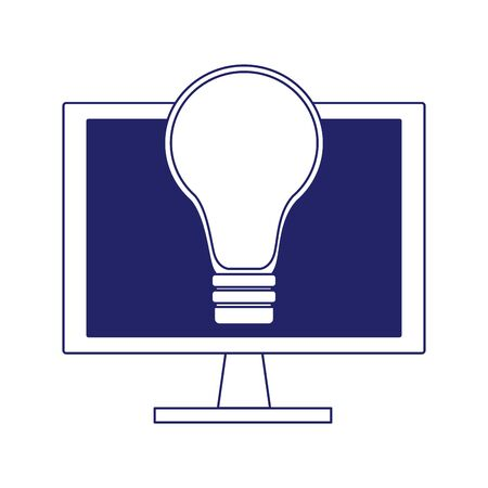 computer with light bulb icon over white background, flat design, vector illustration