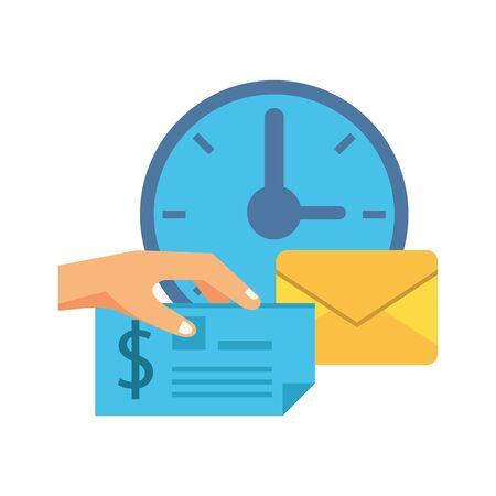 watch with envelope mail postal service vector illustration design