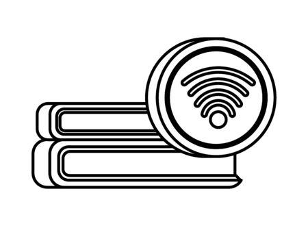pile text books with wifi signal vector illustration design Vecteurs