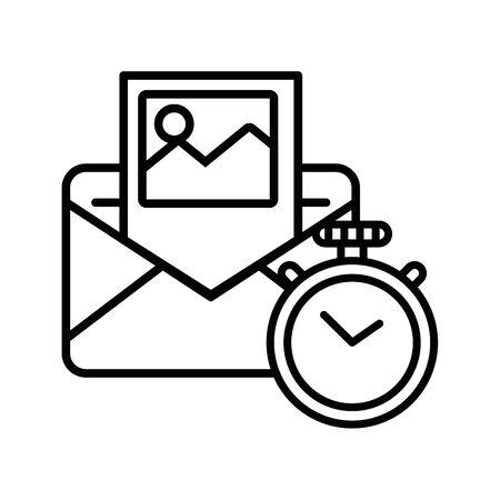 envelope mail with chronometer postal service vector illustration design Illusztráció