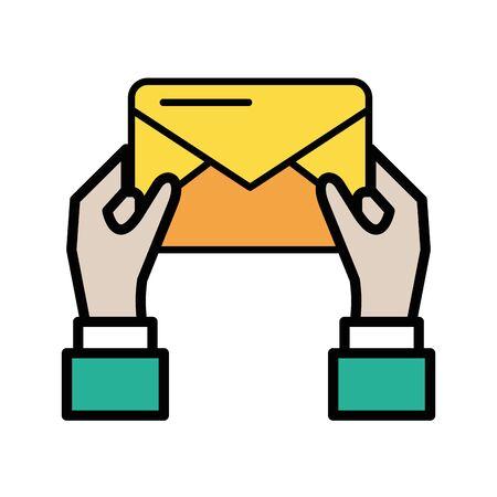 hands human with envelope mail postal service vector illustration design Illusztráció
