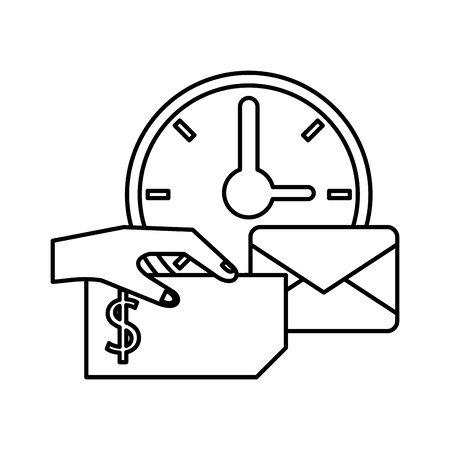 envelope mail with watch postal service vector illustration design