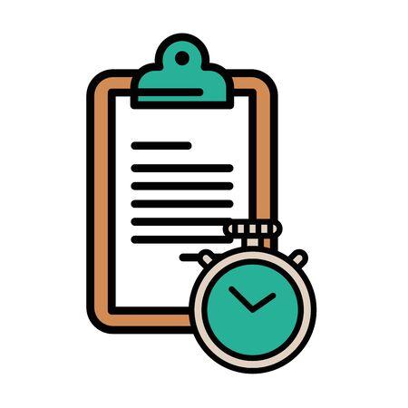 checklist clipboard document with chronometer vector illustration design Illustration