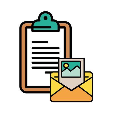 envelope mail with checklist postal service vector illustration design Illusztráció