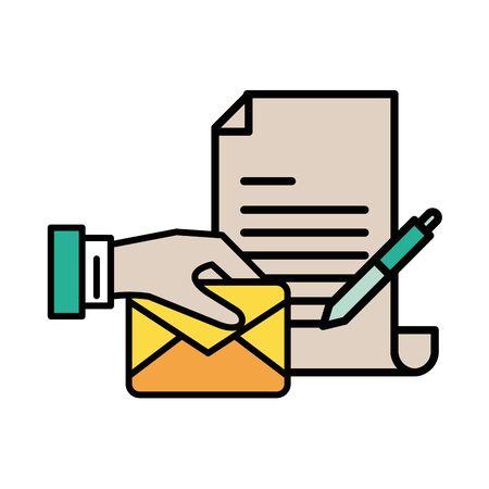 envelope mail with document file postal service vector illustration design Illusztráció