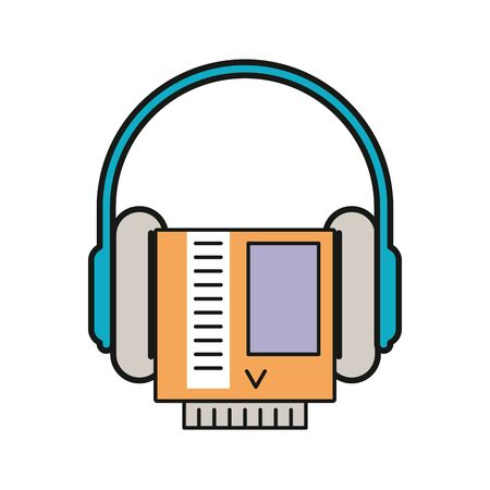 video game cartridge retro with earphones vector illustration design Illustration