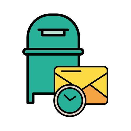 street mailbox postal service with clock vector illustration design Illusztráció
