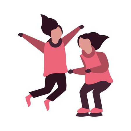young happy girls with winter clothes and skates vector illustration design