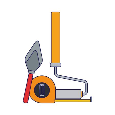 paint roller with hand meter and spatula tool over white background, colorful design, vector illustration Ilustração