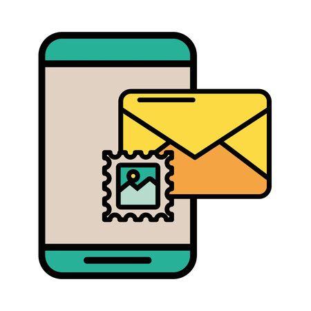 smartphone with envelope email postal service vector illustration design Illusztráció