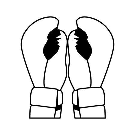boxing gloves icon over white background, flat design, vector illustration