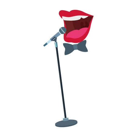 microphone stand and comedian mouth icon over white background, vector illustration