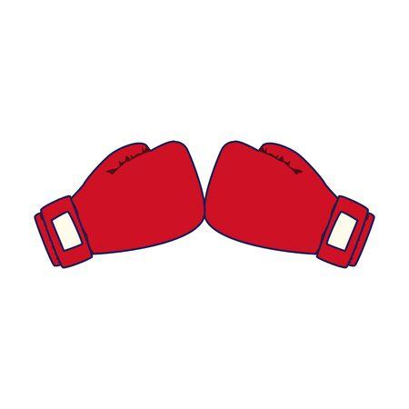red boxing gloves icon over white background, vector illustration Illustration