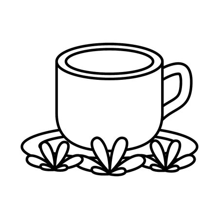 coffee in ceramic cup drink with leafs vector illustration design Illustration