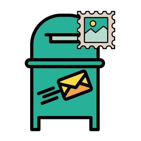 street mailbox postal service icon vector illustration design