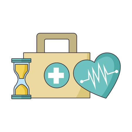 hourglass, cardio heart and first aid kit over white background, colorful design, vector illustration