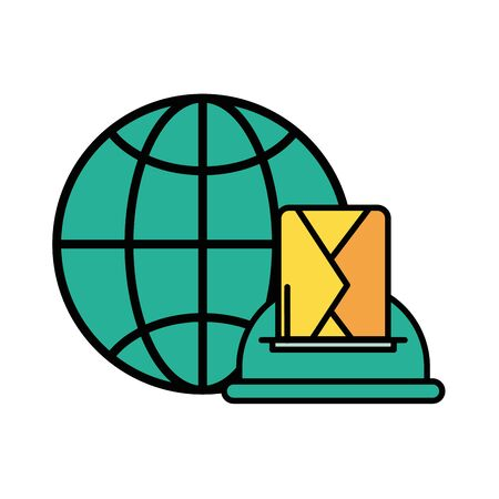 envelope mail with mailbox and sphere browser vector illustration design Illusztráció
