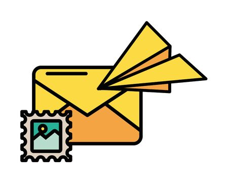 envelope mail with airplane paper vector illustration design