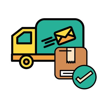 truck cart with envelope mail postal service vector illustration design Illusztráció