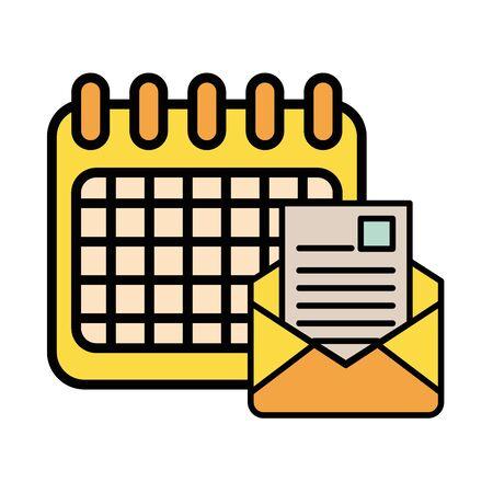 envelope mail with calendar postal service vector illustration design