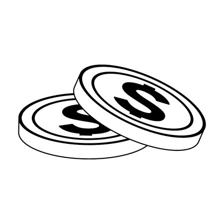 money coins icon over white background, flat design, vector illustration