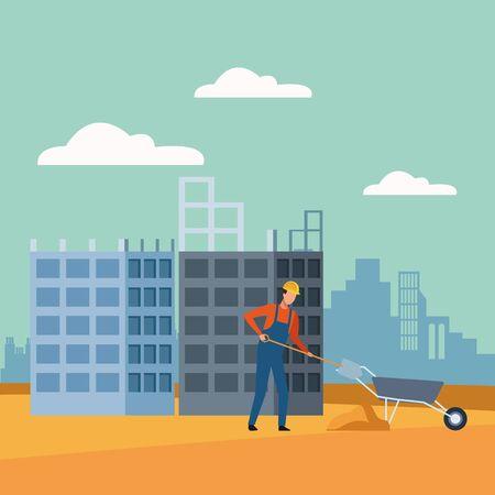 builder working over under construction scenery background, colorful design, vector illustration Ilustração