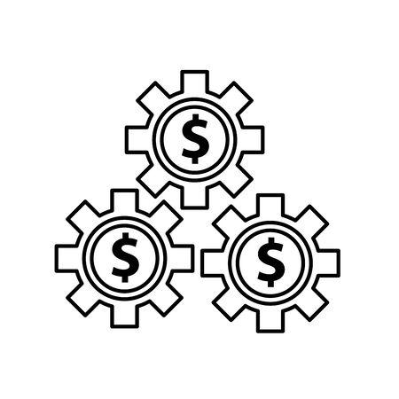 gears with money symbols icons vector illustration design Stock Illustratie