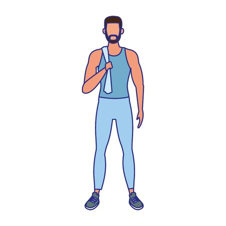 avatar man standing with sports clothes icon over white background, vector illustration Illustration