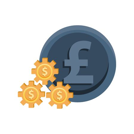 gears with money symbols and pound sterling vector illustration design Stock Illustratie