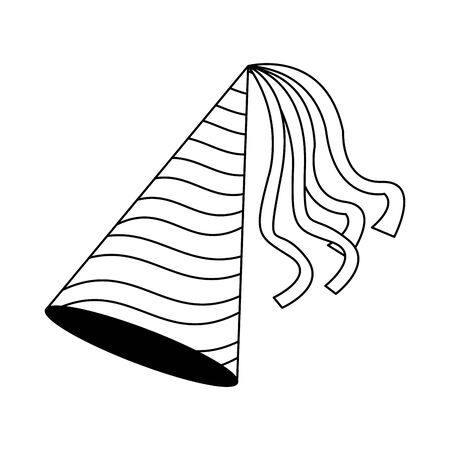 birthday hat icon over white background, flat design, vector illustration