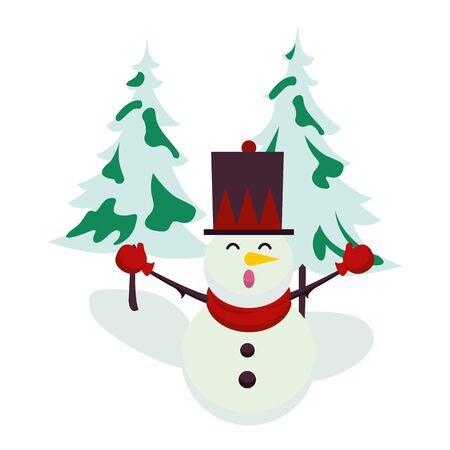 christmas snowman with pines trees character vector illustration design Illusztráció