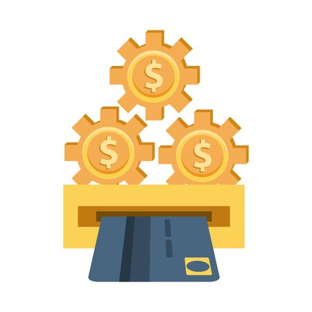 gears with money symbols and atm hole vector illustration design