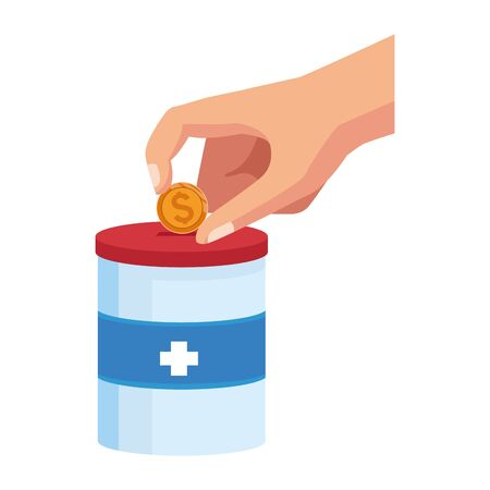 hand with donation tin over white background, colorful design, vector illustration Stock Illustratie