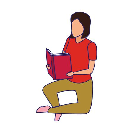 woman reading a book sitting over white background, vector illustration Illustration