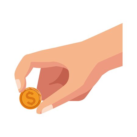 hand holding a coin icon over white background, vector illustration Stock Illustratie