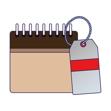 blank calendar and price tag icon over white background, vector illustration