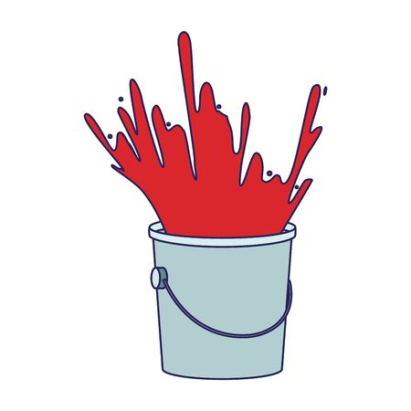 paint bucket with red paint explosion over white background, colorful design, vector illustration Ilustracja