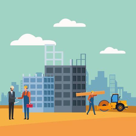 workers and enginner over under construction scenery background, colorful design, vector illustration Ilustração