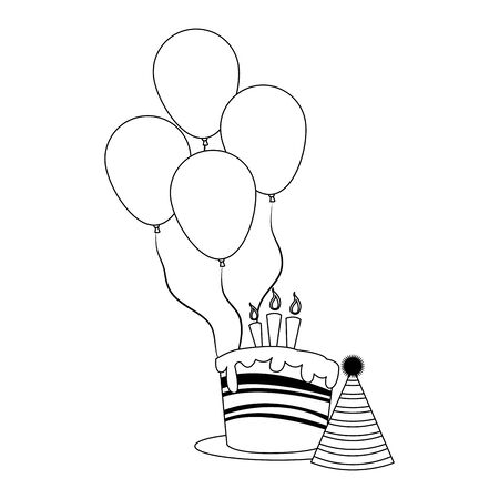 party balloons with birthday cake and hat icon over white background, flat design, vector illustration